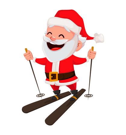 Vrolijk kerstfeest. Grappige kerstman. Vrolijk stripfiguur skiën. Bruikbaar voor wenskaart, spandoek, poster, flyer, label of tag. Vector illustratie.