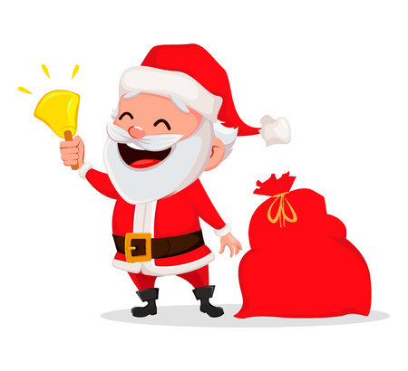 Merry Christmas. Funny Santa Claus. Cheerful cartoon character holding hand bell. Usable for greeting card, banner, poster, flyer, label or tag. Vector illustration.