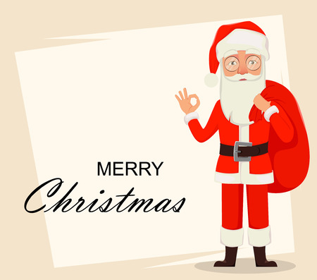 Merry Christmas. Santa Claus showing ok sign. Cheerful cartoon character. Usable for greeting card, banner, poster, flyer, label or tag. Vector illustration.