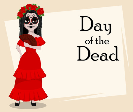 Day of the Dead traditional holiday. Beautiful girl with spooky body art holding hand fan. Vector illustration, usable for greeting card, poster, flyer. Çizim