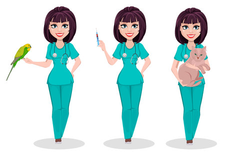 Kobieta weterynarz, zestaw trzech pozach. Postać z kreskówki, profesjonalny lekarz weterynarz trzyma papugę, trzyma strzykawkę i trzyma kota. Ilustracja wektorowa