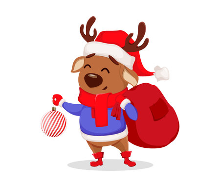 Merry Christmas. Cute deer wearing Santa Claus hat and scarf. Cheerful funny cartoon character holding Christmas tree toy and bag with presents. Vector illustration on white background