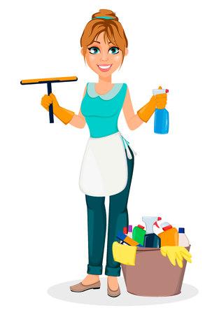 Femme au foyer heureuse. Mère joyeuse, belle femme. Le personnage de dessin animé contient des agents de nettoyage. Illustration vectorielle sur fond blanc.