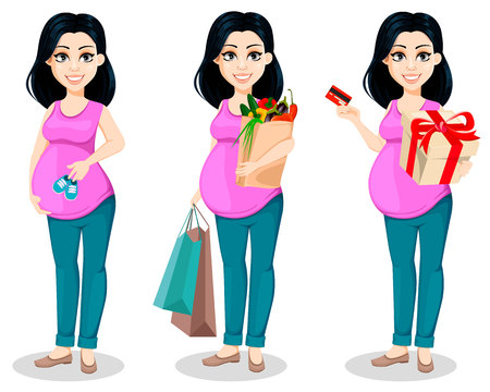 Pregnant woman. Beautiful lady prepares to be a mother, set of three poses. Cute cartoon character holds baby shoes, holds shopping bags and holds gift box. Vector illustration.