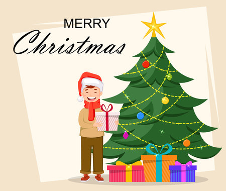Merry Christmas. Cute boy in Santa Claus hat holding gift box and standing near Christmas tree, cartoon character. Usable for greeting card, poster, flyer. Vector illustration