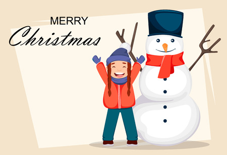 Merry Christmas greeting card with cheerful girl in Santa Claus hat playing with snowman, cute cartoon character. Usable for greeting card, poster, flyer. Vector illustration