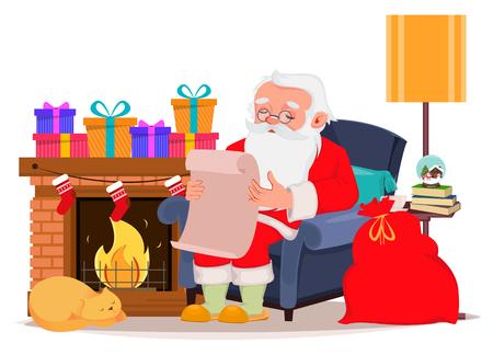 Frohe Weihnachtsgrußkarte mit dem Weihnachtsmann, der in einem bequemen Sessel zu Hause in der Nähe des Kamins sitzt und Briefe von Kindern liest. Vektorillustration auf weißem Hintergrund