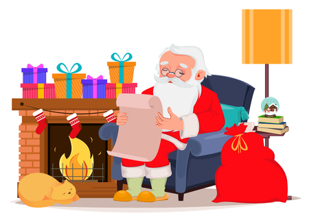 Merry Christmas greeting card with Santa Claus sitting in comfortable armchair at home near fireplace and reading letter from children. Vector illustration on white background