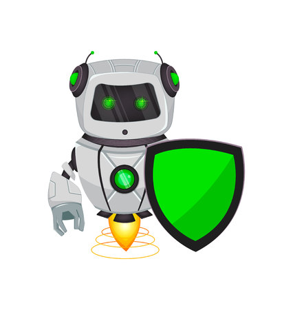 Robot with artificial intelligence, bot. Funny cartoon character holds green shield. Humanoid cybernetic organism. Future concept. Vector Illustration  イラスト・ベクター素材