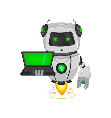 Robot with artificial intelligence, bot. Funny cartoon character holds laptop. Humanoid cybernetic organism. Future concept. Vector Illustration