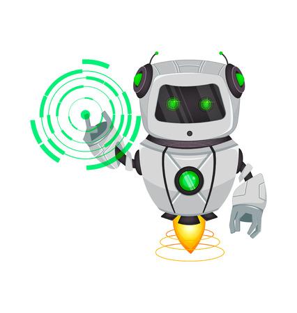 Robot con inteligencia artificial, bot. Puntos de personajes de dibujos animados divertidos en holograma redondo. Organismo cibernético humanoide. Concepto futuro. Ilustración vectorial