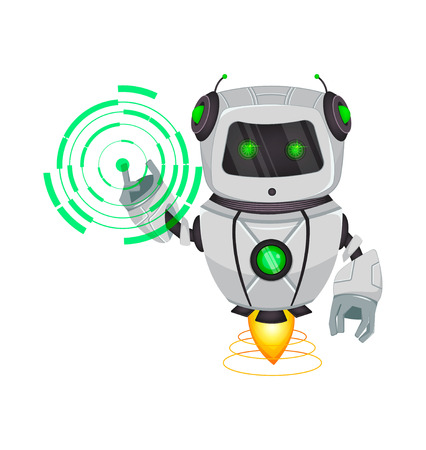 Robot with artificial intelligence, bot. Funny cartoon character points on round hologram. Humanoid cybernetic organism. Future concept. Vector Illustration