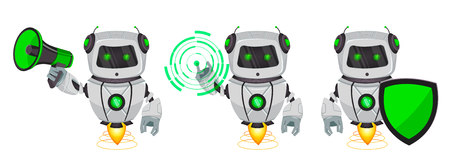 Robot with artificial intelligence, bot, set of three poses. Funny cartoon character holds loudspeaker, holds shield and points on round hologram. Vector Illustration