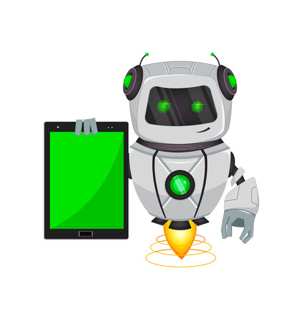 Robot with artificial intelligence, bot. Funny cartoon character holds tablet. Humanoid cybernetic organism. Future concept. Vector Illustration Illustration