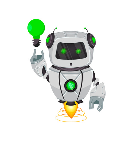 Robot with artificial intelligence, bot. Funny cartoon character having a good idea. Humanoid cybernetic organism. Future concept. Vector Illustration