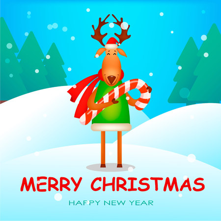 Christmas greeting card. Funny deer wearing Santa Claus hat and red scarf. Cute cartoon character holds candy cane. Vector illustration with winter forest on background