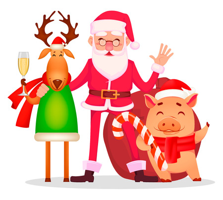 Christmas greeting card. Funny Santa Claus in glasses, cute deer with champagne and pig, cheerful cartoon characters. Vector illustration on white background Vettoriali