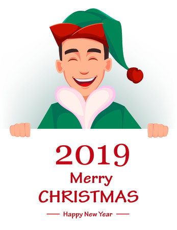 Christmas greeting card. Handsome Santa Claus helper elf. Cheerful cartoon character standing behind placard with greetings. Vector illustration