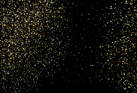 Golden dots on black background. Sparkling gold confetti. Shiny abstract texture. Pattern for holiday, Christmas, New Year and other. Vector illustration. Foto de archivo - 127704613