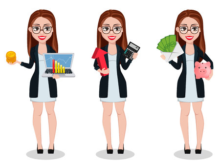Business woman cartoon character, set of three poses. Beautiful lady businesswoman holds laptop, holds calculator and holds money. Freelancer, manager, banker. Vector illustration Vektoros illusztráció