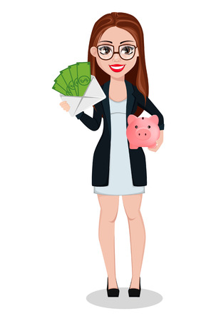 Business woman cartoon character. Beautiful lady businesswoman holds money and piggy bank. Freelancer, manager, banker. Vector illustration.