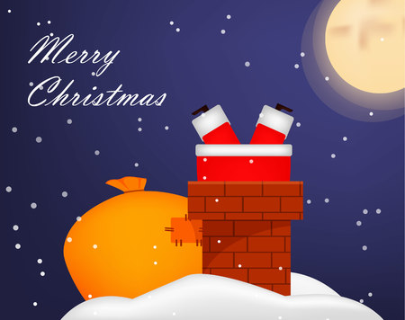 Christmas greeting card. Funny fat Santa Claus stuck in chimney. Usable for poster, flyer, invitation etc. Vector illustration with night sky on background Zdjęcie Seryjne - 127474171