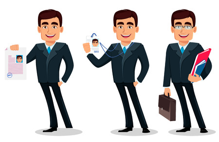 Business man cartoon character in formal suit, set of three poses. Handsome businessman holds document, holds badge and holds briefcase and documents. Manager, banker. Vector illustration
