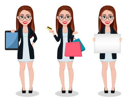 Business woman cartoon character, set of three poses. Beautiful lady businesswoman holds tablet, holds credit card and shopping bags and holds placard. Freelancer, manager, banker. Vector illustration Vektoros illusztráció