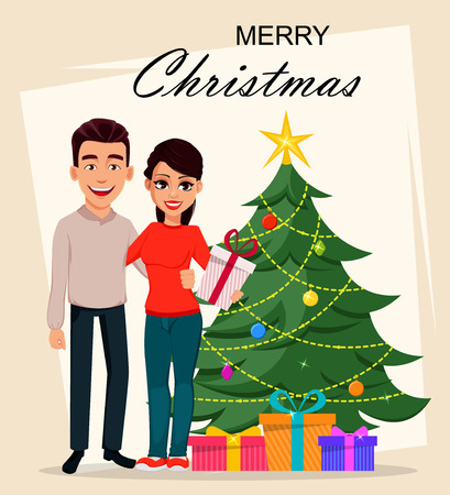 Christmas and New Year greeting card with cute young couple standing near Christmas tree. Smiling man and woman holding gift box. Vector illustration  イラスト・ベクター素材
