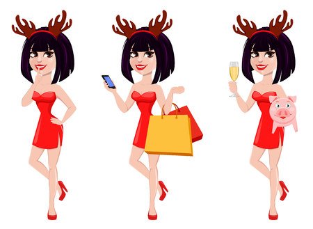 Christmas greeting card. Beautiful woman wearing funny mask with reindeer horns, set of three poses. Smiling cartoon character. Vector illustration on white background