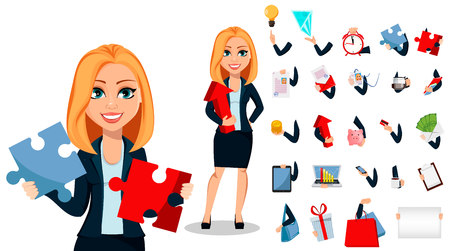 Business woman in office style clothes, set of three poses. Modern lady businesswoman. Pack of body parts and things. Build your own design. Cheerful cartoon character. Vector illustration Illustration