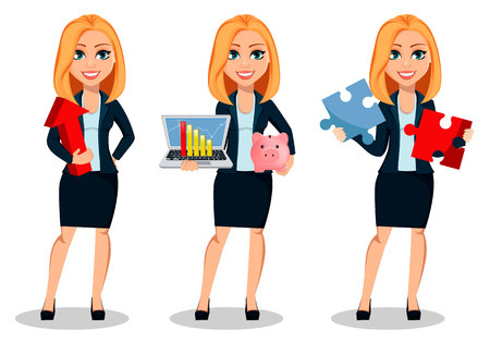 Business woman in office style clothes, set of three poses. Modern lady businesswoman holds red arrow, holds laptop and holds two pieces of puzzle. Cheerful cartoon character. Vector illustration Vectores