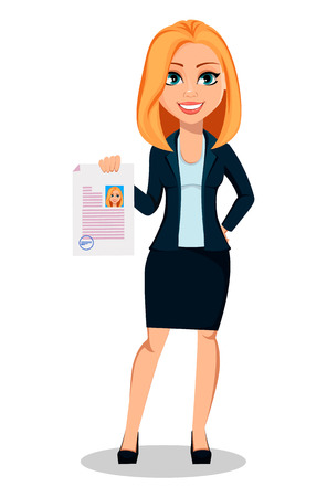 Business woman in office style clothes. Modern lady businesswoman holding signed document. Cheerful cartoon character. Vector illustration on white background.  イラスト・ベクター素材