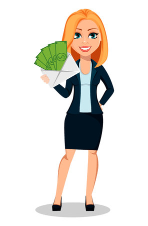 Business woman in office style clothes. Modern lady businesswoman holding envelope with money. Cheerful cartoon character. Vector illustration on white background.