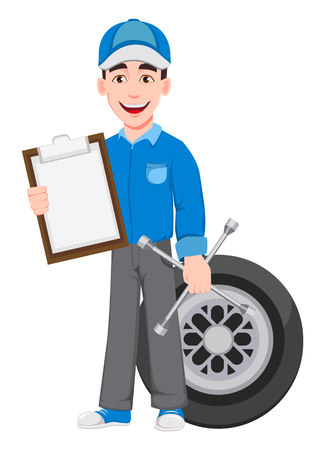 Professional auto mechanic in uniform. Smiling cartoon character stands near wheel and holds clipboard and wheel wrench. Expert service worker. Vector illustration