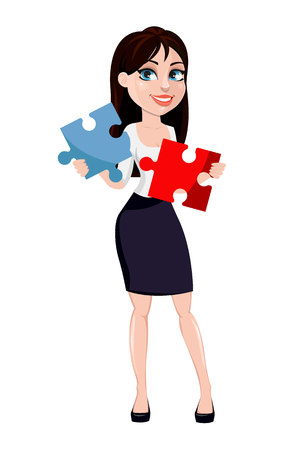 Business woman with brown hair, cartoon character in office style clothes. Modern lady businesswoman holds two pieces of puzzle. Vector illustration Illustration