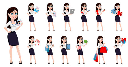 Business woman with brown hair, concept of cartoon character in office style clothes. Set of thirteen poses. Modern lady businesswoman. Vector illustration.