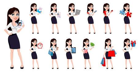 Mujer de negocios con cabello castaño, concepto de personaje de dibujos animados en ropa de estilo de oficina. Conjunto de trece poses. Dama de negocios moderna. Ilustración vectorial.
