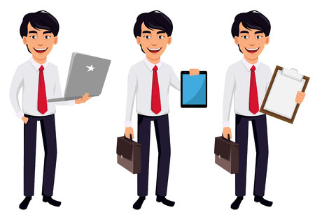 Asian business man, concept of cartoon character in office style clothes, set of three poses. Handsome businessman holds laptop, holds tablet and holds clipboard. Vector illustration