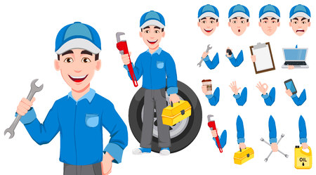 Professional auto mechanic in uniform. Expert service worker. Handsome cartoon character creation set. Pack of body parts, emotions and things. Build your personal design. Vector illustration Stock Illustratie