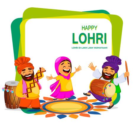 Popular winter Punjabi folk festival Lohri. Funny Indian woman and two Sikh men celebrating holiday. Cartoon characters dancing. Vector illustration Illustration