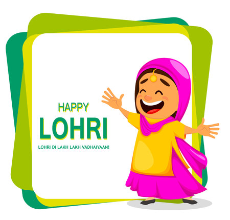 Popular winter Punjabi folk festival Lohri. Funny Indian woman celebrating holiday. Cartoon character dancing. Vector illustration on abstract background