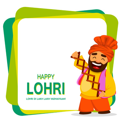 Popular winter Punjabi folk festival Lohri. Funny Sikh man celebrating holiday. Cheerful cartoon character. Vector illustration on abstract background