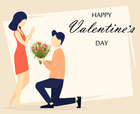 Valentines day. Couple in love, romantic moment, young man giving flowers to his beloved woman. Usable for 8 of March, Women day. Vector illustration Illusztráció