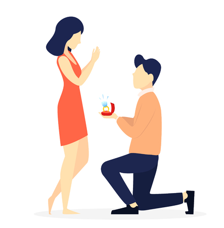 Couple in love, romantic moment, young man making marriage proposal to his beloved woman. 8 of March, Women day or Valentines day. Vector illustration on white background