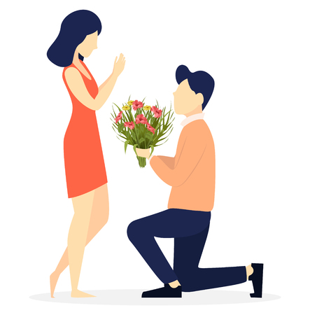 Valentines day. Couple in love, romantic moment, young man giving flowers to his beloved woman. Usable for 8 of March, Women day. Vector illustration on white background