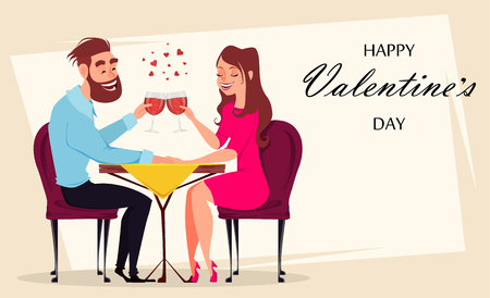 Couple in love, romantic evening in restaurant or cafe, young man and woman drink champagne. Greeting card. Date. Celebrating 8 of March, International Women day or Valentines day. Vector  Illustration