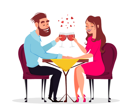 Couple in love, romantic evening in restaurant or cafe, young man and woman drink champagne. Date. Celebrating 8 of March, Women day or Valentines day. Vector illustration on white background