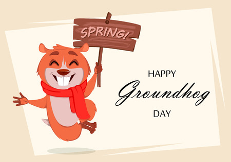 Happy Groundhog day. Greeting card with funny marmot jumping and holding wooden plate. Vector illustration on white background