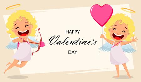 Cartolina d'auguri di buon San Valentino con Cupido che tiene arco e freccia e Cupido che tiene mongolfiera a forma di cuore. Illustrazione vettoriale